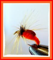 Orange Caddis Fly Fishing Flies - Twelve NEW Premium Choice of Hook Size