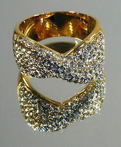 """Beautifully Crafted Classic """"Bow"""" Ladies Ring, Multiple Swarovski stones, NEW"""