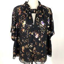 Rachel Roy XXL Sheer Layered Floral SHort Sleeve Blouse
