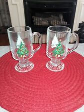 CHRISTMAS TREE IRISH COFFEE PEDALST FOOTED GLASS MUG SET OF 2 PRE OWNED