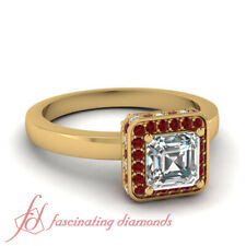1 Ct Asscher Cut Untreated Diamond & Ruby Halo Engagement Ring In Yellow Gold