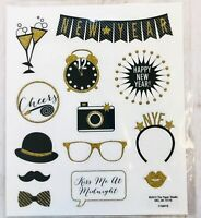 2 Sheets New Year Party Gold Glitter Stickers Papercraft Planner Supply Crafts