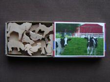 Mini Match Box Farmer Farm Set  Hand Cut Wooden Animal Cow Horse  Miniature Toy