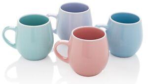 Stunning Set of 4 Bright Coloured Fruiti Porcelain EXTRA LARGE Coffee Soup Mugs