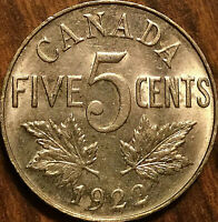 1922 CANADA 5 CENTS COIN - Excellent example!