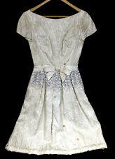 TLC Needed XS Vintage 1950s Ivory Dress Beading Rhinestones Cocktail Evening