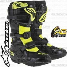 Alpinestars Tech 6S Kids Black Yellow Flo Boots Size US 7 UK 6 EU 40.5 Motocross