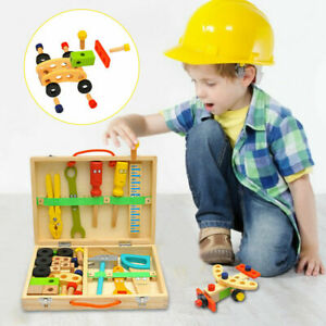 Wooden Construction Tool Kit Toys Kids Educational DIY Simulation Toolbox Gift