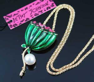 Fashion Betsey Johnson Enamel Crystal Lotus Seed Pendant Necklace Sweater Chain