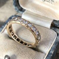 Art Deco 14ct Gold Full Eternity Ring with white Quartz not Diamonds UK M 1/2