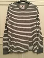 FAT FACE, SIZE LARGE. GREY AND WHITE STRIPED LONG SLEEVE BRETON STYLE TOP