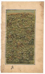 Indian Painting Hunting Art Of Mughal Era Hand Painted Finest Miniature Artwork