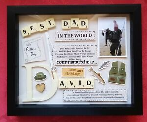 FATHERS DAY Personalised FISHING GIFT Frame Picture Keepsake MANY THEMES