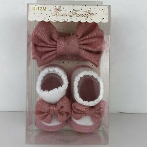 NEW Bow Fancy Headwrap & Booties Baby Girls Gift Set White Pink 0-12 Mo.