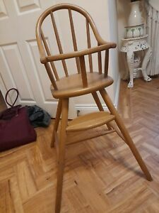Solid Pine Wooden High Chair Childs Highchair Traditional gc Ikea Gulliver