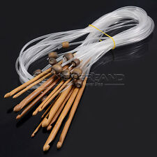 12 Stück Set Bambus Häkelnadel Nadel 3-10mm Afghanische Tunesische Stricknadeln