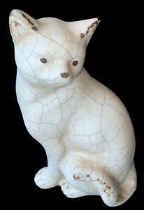 Large ceramic hollow cat ornament - painted in a crazed crackle style 24.5cm