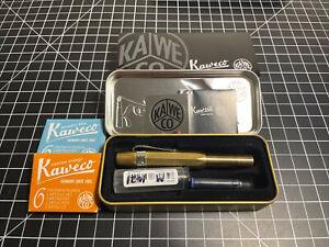 Kaweco Brass Sport Fountain Pen Brass Fine & Medium Nibs, Cartridges