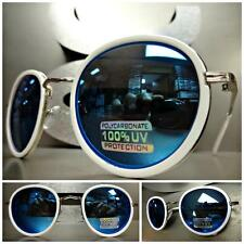 Mens or Women VINTAGE RETRO Style SUNGLASSES White Silver Frame Blue Mirror Lens