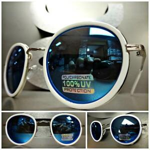 Mens or Women VINTAGE RETRO Style SUNGLASSES White Silver Frame Blue Mirror Lens