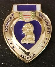 Purple Heart Combat Wounded Veteran Hat Lapel Pin Army Marines.New