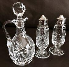Superb Antique Victorian Crystal & Silver Plated Salt, Pepper & Oil/Vinegar Set
