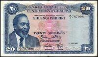 1966 Kenya 20 Shillings Banknote * A/1 787998 * gF+ * P-3a *