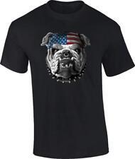 American Bulldog T-Shirt Us Flag Patriotic Spiked Dog Collar Tee
