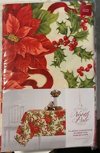 Classic Christmas Poinsettia Tablecloth (Round 70 in. Diameter)