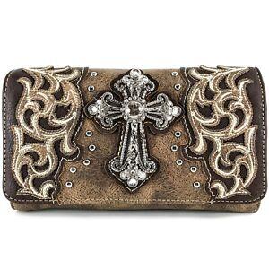 Western Country Cross Crossbody Trifold Wallet for Women