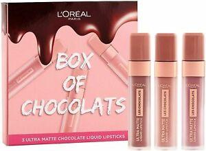 L'Oreal Box Of Chocolates Lipstick Gift Set - 3 Ultra Matte Liquid Lipsticks