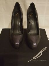 B Brian Atwood Purple/Black Snakeskin Embossed Leather Sz 9 / 40 Platform Heels