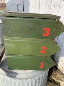 Lot Of 3 Vintage Green Industrial Metal Storage Bin StackBin Rustic 1 2 3 Number