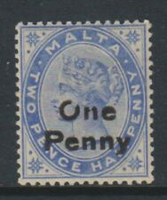"Malta - 1902, 1d on 2 1/2d Dull Blue - Showing flaw in Letter ""O"" & ""N"" of"