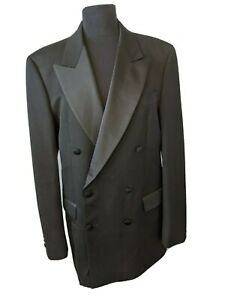 """DAKS of London pure wool double breasted tuxedo blazer made in UK 40"""" Chest"""