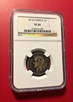 1873A GREECE 1 D COIN NGC VF 20