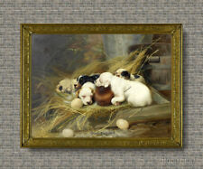 Old Master Art Antique Wildlife Animal Portrait Dog Puppy Oil Painting 24x30 in