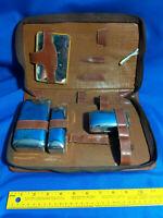 Mid Century VTG Genuine Leather Travel Bathroom Set Silver Plate Case Luggage Dr