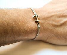 Anchor cord bracelet for men, men's bracelet with a silver anchor, gray cord