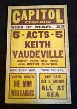 """Capitol Concord Theater 1929 Vintage Window Card (14"""" x 22"""") The Man Who Laughs"""
