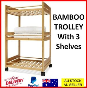 Bamboo Bathroom Kitchen Trolley Cart 3 Shelf Rack Storage Shelves Wooden Rolling