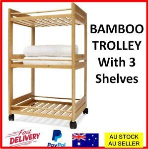 Bamboo Bathroom Kitchen Trolley Cart 3 Shelf Rack Storage Shelves Wooden Rolling