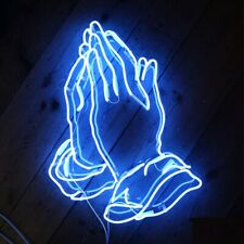 Praying Hands Aqua Neon Sign Acrylic Light Gift Man Cave Open Bar With Dimmer