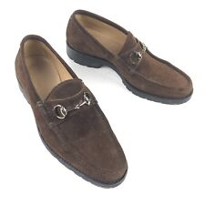 Gucci Men's Gold Horsebit Brown Suede Loafers • Italy • Size 7