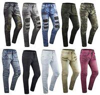 Mens ripped Skinny Stretch Biker Zipper pants Jeans distressed jeans