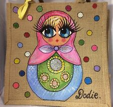 Personalised Handpainted Jute Russian Doll Matryoshka Handbag Hand Bag