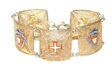ANTIQUE PORTUGUESE Gold Vermeil Sterling Silver Cross Crest Panel BRACELET 22G