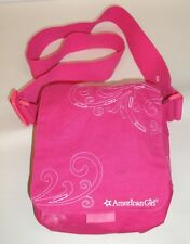 American Girl  Fun Fabric Bag Pink with white embroidery  Flap close