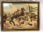 "Thomas Hart Benton Lassoing Horses Offset Lithograph 14"" x 11"" Regionalism 1931"