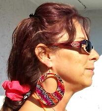 """X-LG 3 3/4"""" Flashy Boho Gypsy Rainbow Enamel NY &Co Oval Loop Earrings Surg Hook"""